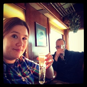 Champagne toast on the luxury caboose car. Classy!