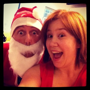 "Christmas #selfie with the dodgiest ""Santa"" in Sydney!"