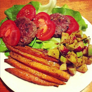 Dinner tonight: @nomnompaleo's Big-O Bacon Burgers, Sweet Potato Fries, and Crunchy Radish Salad. #paleo