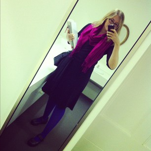 Went for a sort of funky librarian look today.  #colouredtightsprotest