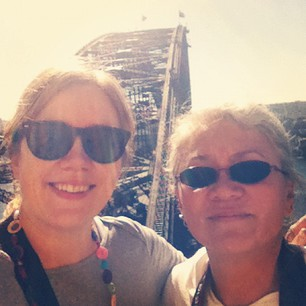 Me and Mom, watching the boys climb the Bridge.
