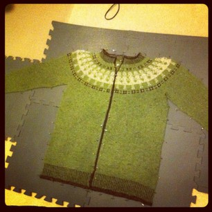 Paper Dolls (Jacket) blocking. Might need to stretch the yoke even more...