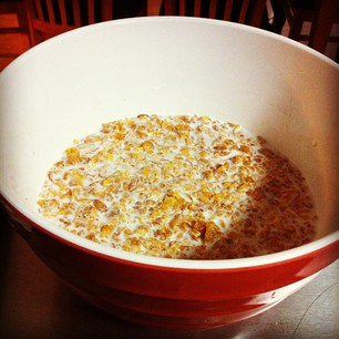 Giant bowl of milk steeping in caramelised corn flakes. Holy crap.