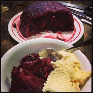 Homemade Summer Pudding and vanilla ice cream. #bliss
