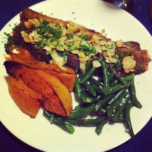 Dinner tonight: Rainbow Trout with Almonds, Pumpkin, and Beans.  #paleo