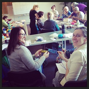The Double Knitting workshop was a big hit! #knitcamp