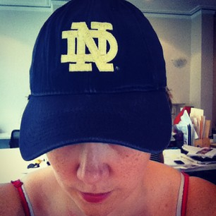 The heat today (109F!) ruled out any ND wear beyond a cap. GO IRISH!
