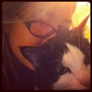 Wishing I could give hugs to all my family back home on this sad, cold night. The cat will have to do.