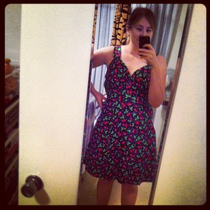 You guys - I totally made a dress! All by myself! Just needs buttons, zip, and pockets to finish.
