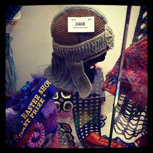 My fave entries from Easter Show: crochet medieval helmet and sushi scarf. #notallvomit