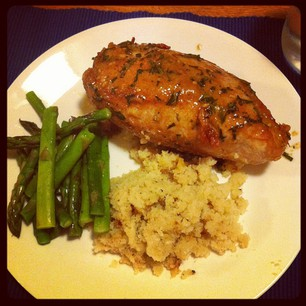 "Pan Roasted Chicken Breast with Dijon & Tarragon, Asparagus, and Cauliflower ""Rice"" #paleo"