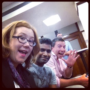 Geeky selfie at SydJS with Varun, Allan, and Sharkie.
