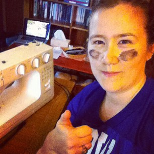 Sewing machine, laptop with dodgy Internet stream, LET'S DO THIS. GO IRISH!!