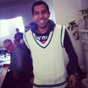 I gave @kunaalr his wedding gift today: a hand knitted cricket vest! Happily, it fits. :)