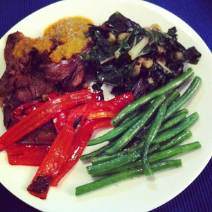 Dinner tonight: Slow Roasted Lamb Shoulder, Silverbeet, Capsicum, and Beans.  #paleo