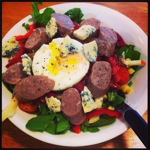 """Clean-Out-The-Fridge"" Salad: rocket, apple, corn, capsicum, sausage, bleu cheese, raspberries, egg, etc. #paleo"