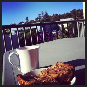 Coffee and hot cross buns on the veranda on a pretty morning.