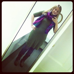 Today: Dress by Heartbreaker. Grey tights from @welovecolors. Hand knitted scarf.