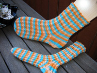 Bed Socks in Lemon Pattern Fancy Knit Stripe