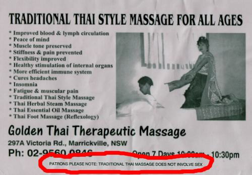 Patrons Please Note: Traditional Thai Massage Does Not Involve Sex!