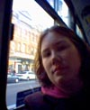 The very first picture I took: Me on the bus.