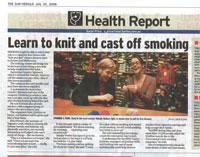 Learn to knit and cast off smoking