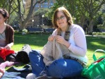 Me knitting in Hyde Park