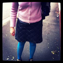 Wool skirt, T-shirt, cardigan, blue tights