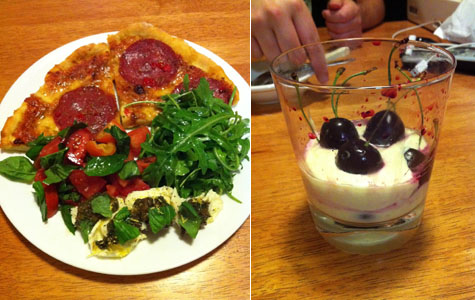 Cheat's Pizza with 3 Salads and Cherry Marscapone Cream