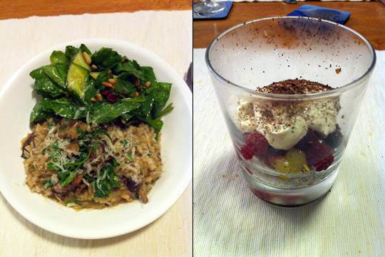 Oozy Mushroom Risotto, Spinach Salad, Quick Raspberry & Lemon Cheesecake