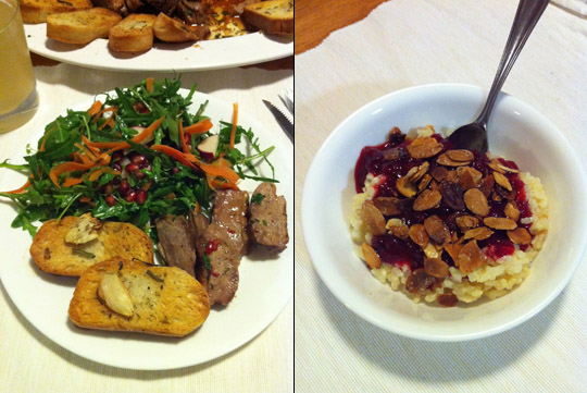 Duck Salad, Giant Croutons, Cheat's Rice Pudding with Stewed Fruit