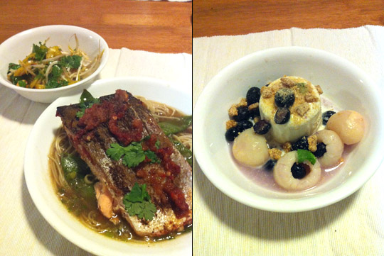 Asian-Style Salmon, Noodle Broth, Beanspout Salad, and Lychee Dessert