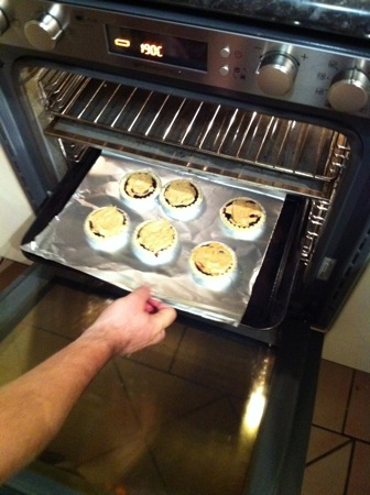 Tarts into the oven