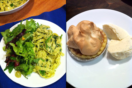 Wonky Summer Pasta, Herby Salad, and Pear Drop Tartlets