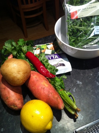 Potatoes and salad ingredients