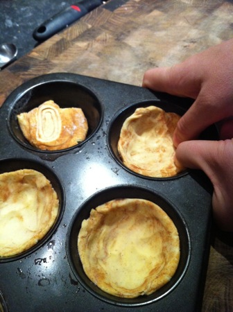Stretching the pastry discs
