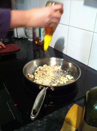Adding honey and sesame seeds