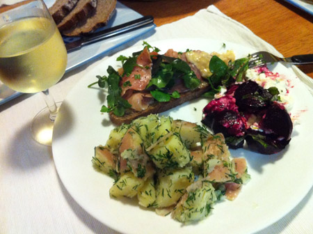 Smoked Salmon, Potato Salad, Beets & Cottage Cheese, Rye Bread & Homemade Butter