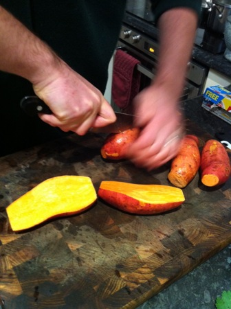 Halving sweet potatoes