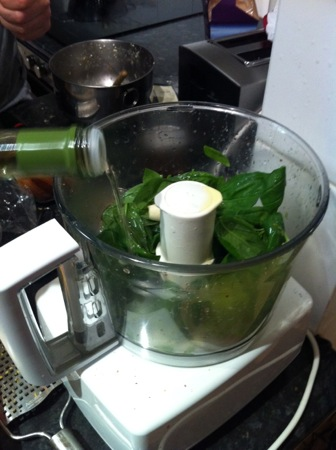 Making the basil dressing