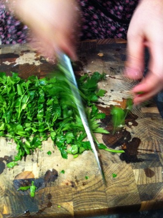 Chopping parsley leaves