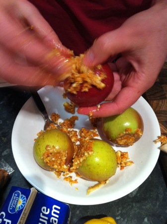 Stuffing the apples