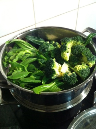 Steaming the greens