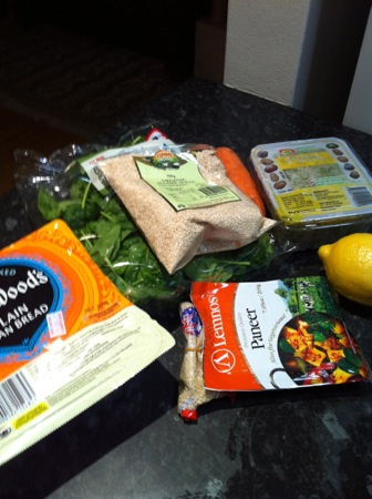 Naan breads and salad ingredients