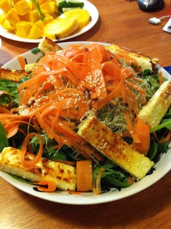 Spinach and paneer salad