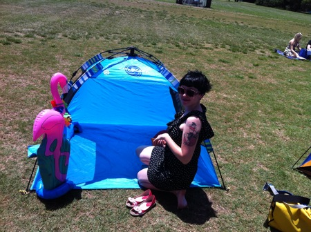 Reecie and her tent - Opera in the Domain 2011