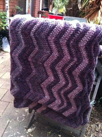 Purple Ripple Afghan