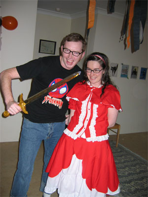 Nerd menaces Little Red Riding Hood!