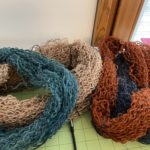 Skeins tied for washing
