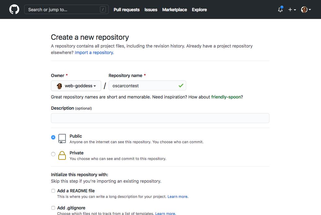 Github create repo